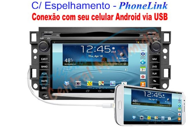 Central Multimídia GM Captiva 2008 a 2015 - PhoneLink